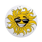 Smiley Face Sun Ornament (Round)