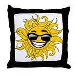Smiley Face Sun Throw Pillow