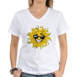 Smiley Face Sun Women's V-Neck T-Shirt