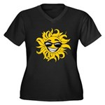 Smiley Face Sun Women's Plus Size V-Neck Dark T-Sh