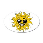Smiley Face Sun 35x21 Oval Wall Decal