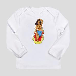 Retro Pin Up Girl Tattoo Long Sleeve Infant T-Shir