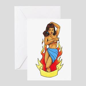Retro Pin Up Girl Tattoo Greeting Card