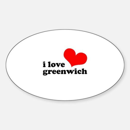 i love greenwich Sticker (Oval)