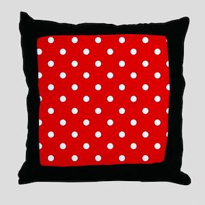 Red White Polkadot Throw Pillow