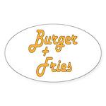Burger & Fries Sticker (Oval 10 pk)