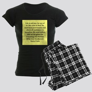pierre and marie currie quote Women's Dark Pajamas