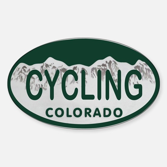 Cycling Colo License Plate Sticker (Oval)