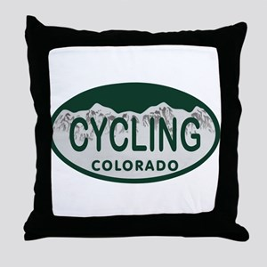 Cycling Colo License Plate Throw Pillow