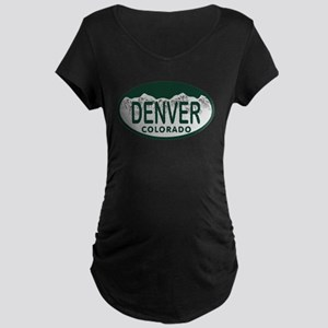 Denver Colo License Plate Maternity Dark T-Shirt
