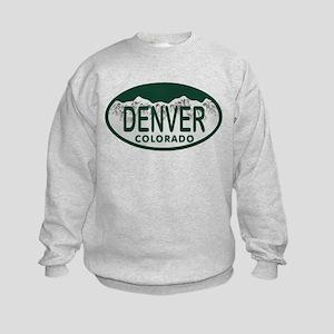 Denver Colo License Plate Kids Sweatshirt