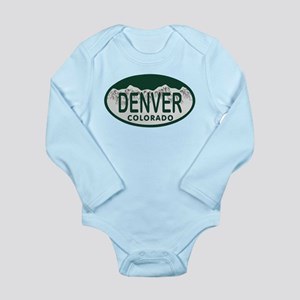 Denver Colo License Plate Long Sleeve Infant Bodys