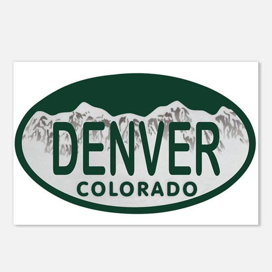 Denver Colo License Plate Postcards (Package of 8)