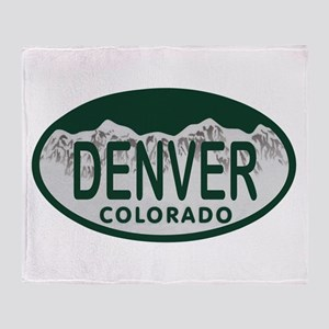 Denver Colo License Plate Throw Blanket
