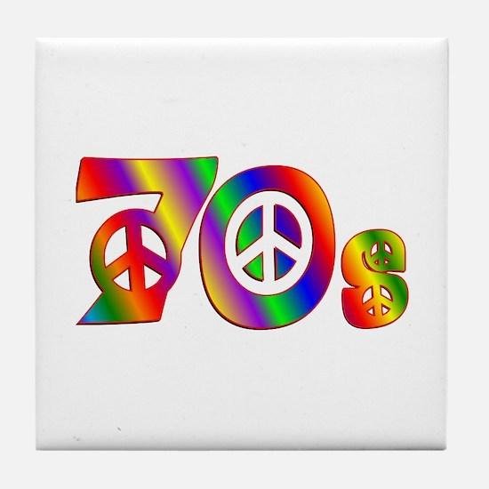 70s PEACE SIGN Tile Coaster