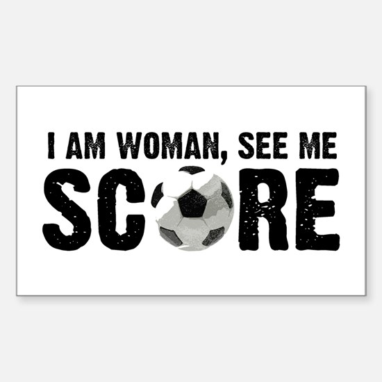See Me Score Soccer Sticker (Rectangle)
