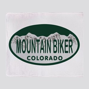 Mountan Biker Colo License Plate Throw Blanket