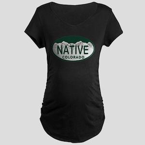 Native Colo License Plate Maternity Dark T-Shirt