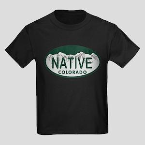 Native Colo License Plate Kids Dark T-Shirt