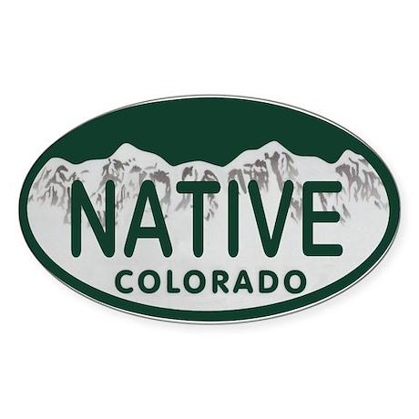 Native Colo License Plate Sticker (Oval)