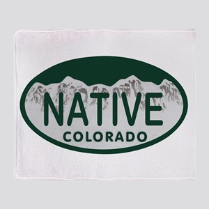 Native Colo License Plate Throw Blanket