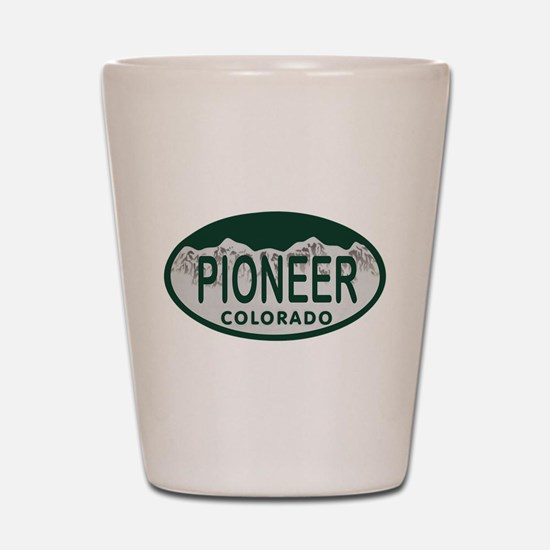 Pioneer Colo License Plate Shot Glass