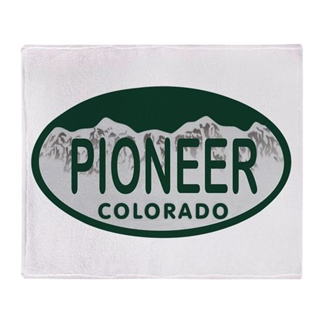 Pioneer Colo License Plate Throw Blanket