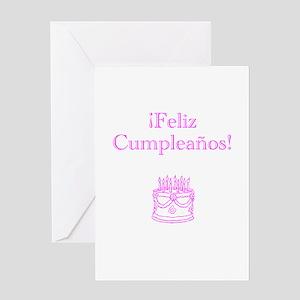 Spanish Birthday Pink Greeting Card