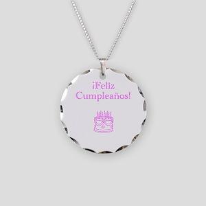 Spanish Birthday Pink Necklace Circle Charm