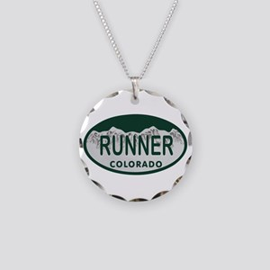 Runner Colo License Plate Necklace Circle Charm