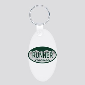 Runner Colo License Plate Aluminum Oval Keychain