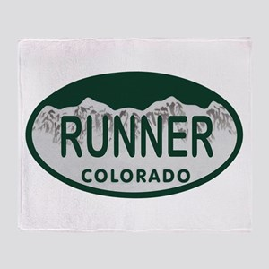 Runner Colo License Plate Throw Blanket