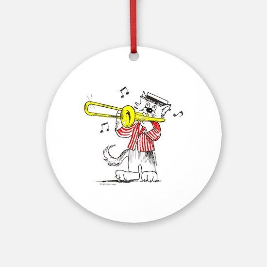 Trombone Cat Ornament (Round)