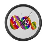 60s PEACE SIGN Large Wall Clock