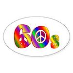 60s PEACE SIGN Sticker (Oval 50 pk)
