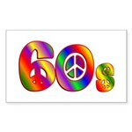 60s PEACE SIGN Sticker (Rectangle 10 pk)