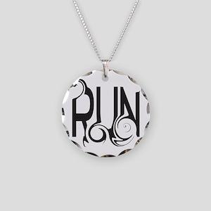 Unique RUN Necklace Circle Charm