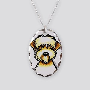 Funny Wheaten Terrier Necklace Oval Charm