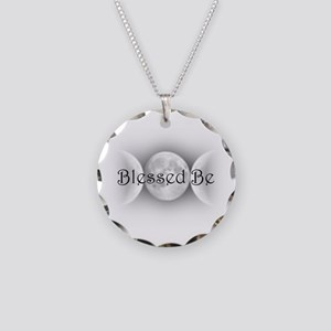 Blessed Be (triple crescent) Necklace Circle Charm