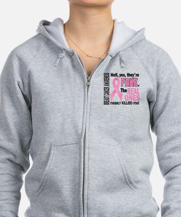 Yes They're Fake Breast Cancer Zip Hoodie