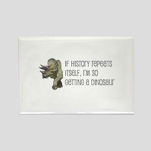 History Repeats Dinosaur Pet Rectangle Magnet