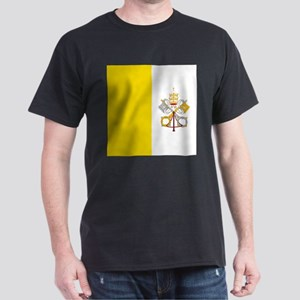 Vatican City Flag Black T-Shirt
