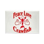 Peace Love Crawfish Rectangle Magnet (10 pack)