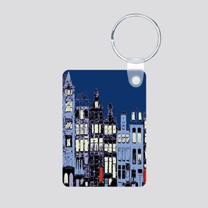 Amsterdam at Night Aluminum Photo Keychain