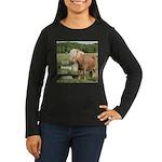 Shetland pony women's long-sleeve dark T-shirt