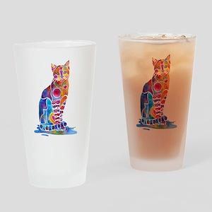 Whimsical Elegant Cat Drinking Glass