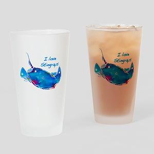 I LOVE STINGRAYS Drinking Glass