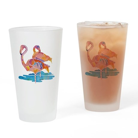 Flamingos Drinking Glass