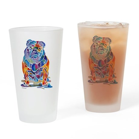 Whimsical English Bulldog Drinking Glass