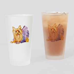 Playful Yorshire Terrier Drinking Glass
